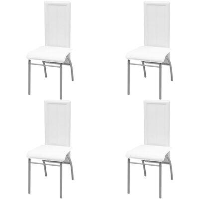 vidaXL Matbord och stolar 5 delar vit