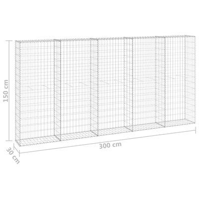 vidaXL Gabionmur galvaniserat stål 300x30x150 cm