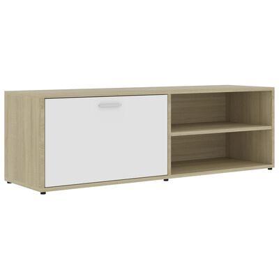 vidaXL TV-bänk vit och sonoma-ek 120x34x37 cm spånskiva