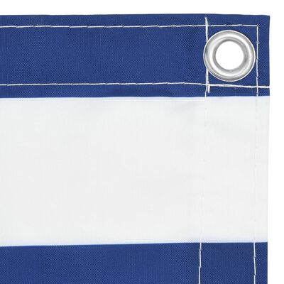 vidaXL Balkongskärm vit och blå 90x400 cm oxfordtyg