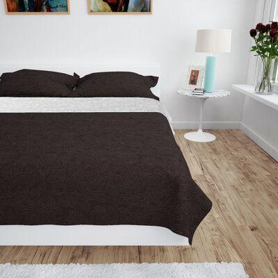 vidaXL Överkast dubbelsidigt 170x210 cm gräddvit och brun