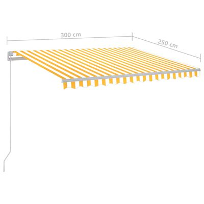 vidaXL Automatisk markis med vindsensor & LED 3x2,5 m gul och vit