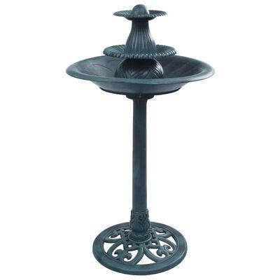 vidaXL Fågelbad med fontän grön 50x91 cm plast