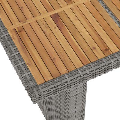 vidaXL Matgrupp för trädgården med dynor 9 delar konstrotting grå