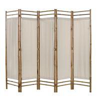 vidaXL Rumsavdelare 5 paneler hopfällbar bambu och kanvas 200 cm