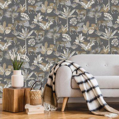 DUTCH WALLCOVERINGS Tapet leopard grå och beige