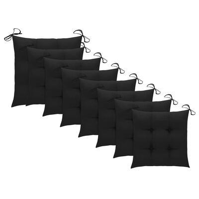 vidaXL Trädgårdsstolar med svarta dynor 8 st massiv teak
