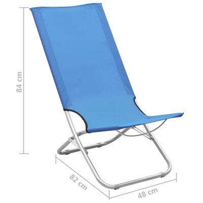 vidaXL Hopfällbara strandstolar 2 st blå tyg