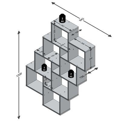 FMD Väggmonterad hylla med 11 fack vit