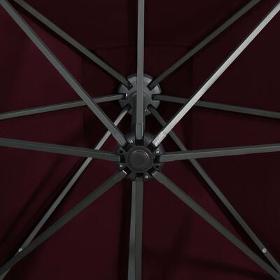 vidaXL Frihängande parasoll med stång och LED vinröd 300 cm