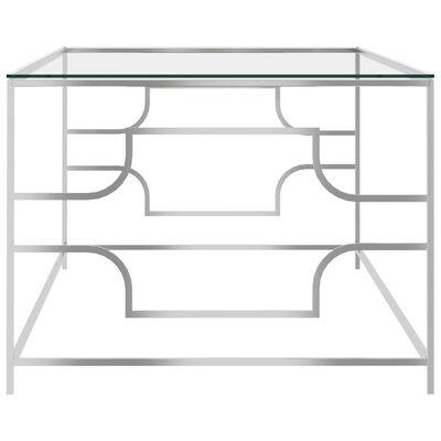 vidaXL Soffbord silver 120x60x45 cm rostfritt stål och glas