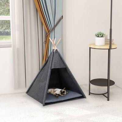 vidaXL Tipitält för katt sammet med väska svart 60x60x70 cm