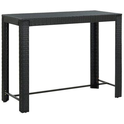 vidaXL Barbord för trädgården svart 140,5x60,5x110,5 cm konstrotting