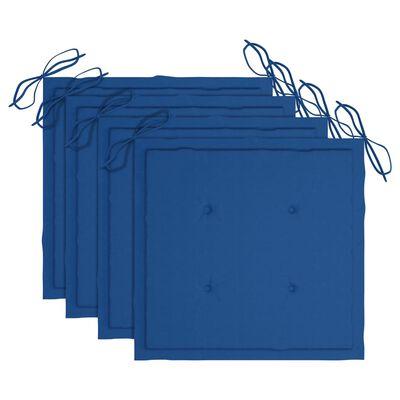 vidaXL Trädgårdsstolar med kungsblåa dynor 4 st massiv teak