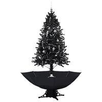 vidaXL Julgran med snö och paraplybas svart 190 cm PVC