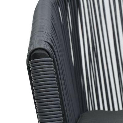 vidaXL Bistrogrupp 3 delar med dynor PVC-rotting antracit