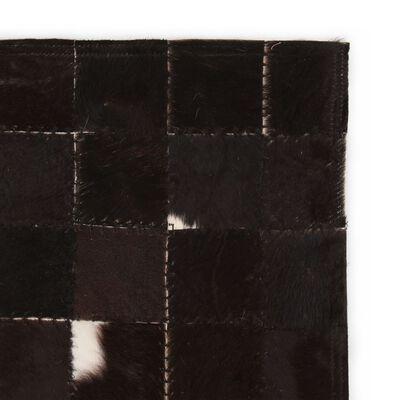 vidaXL Matta äkta läder lappad fyrkanter 80x150 cm svart/vit