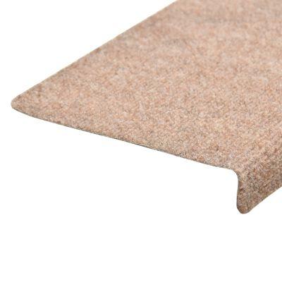 vidaXL Trappstegsmattor 15 st nålad 65x25 cm brun