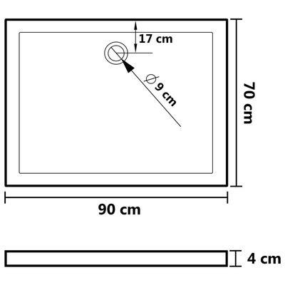 vidaXL Duschkar rektangulärt ABS 70x90 cm