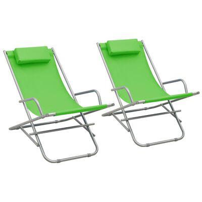 vidaXL Gungstolar 2 st stål grön