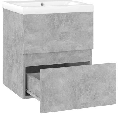 vidaXL Badrumsskåp med inbyggt handfat betonggrå spånskiva