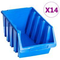 vidaXL Staplingsbara sortimentaskar 14 st blå plast