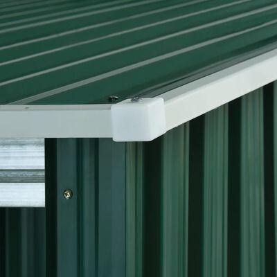 vidaXL Trädgårdsbod med förlängt tak grön 346x121x181 cm stål