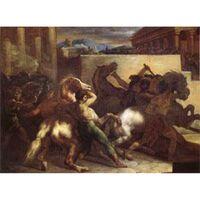 Race of Wild Horses at Rome,Theodore Gericault,45x60cm