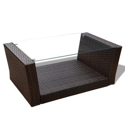 vidaXL Loungegrupp för trädgården med dynor 4 delar konstrotting brun