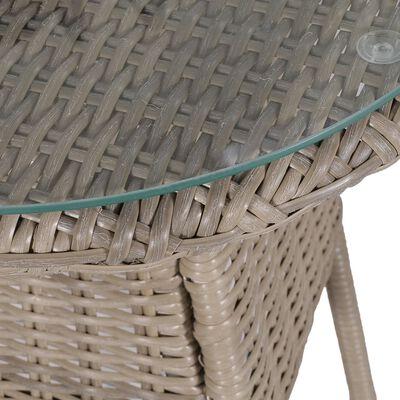 vidaXL Bistrogrupp 3 delar med dynor och kuddar konstrotting brun