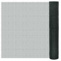 vidaXL Hönsnät galvaniserat med PVC-beläggning 25x1 m grön