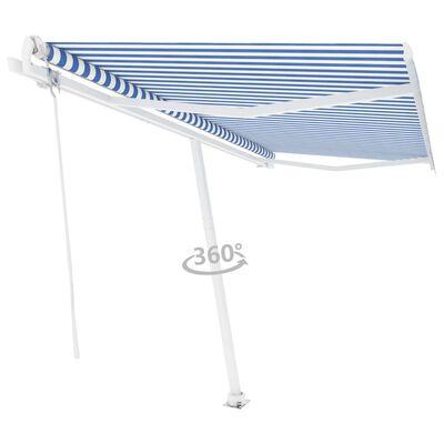 vidaXL Fristående markis automatisk 450x350 cm blå/vit