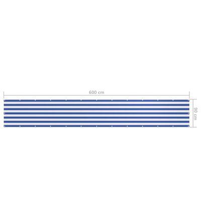 vidaXL Balkongskärm vit och blå 90x600 cm oxfordtyg