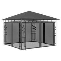 vidaXL Paviljong med myggnät 3x3x2,73 m antracit 180 g/m²