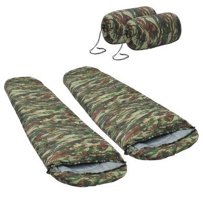 vidaXL Lätta sovsäckar 2 st kamouflage 15°C 850g