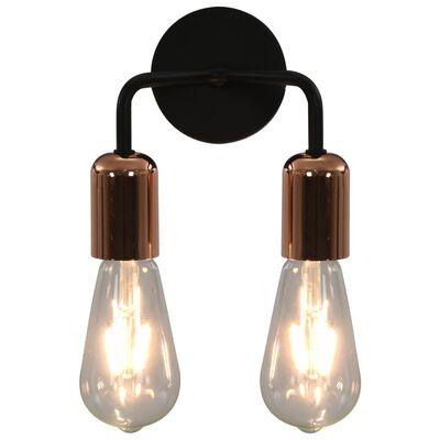 vidaXL Vägglampa med glödlampor 2 W svart och koppar E27