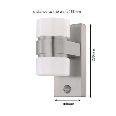 EGLO Utomhusvägglampa LED med sensor Atollari 2x6W silver