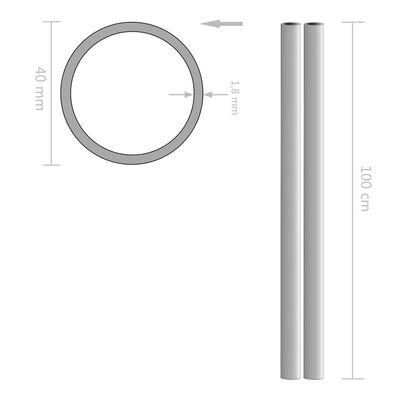 vidaXL Rör i rostfritt stål 2 st rund V2A 1m 40mm