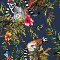 DUTCH WALLCOVERINGS Tapet lemur petrolblå