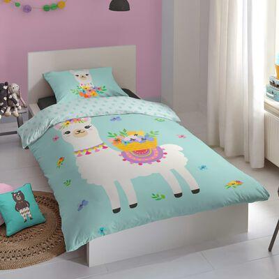 Good Morning Bäddset för barn Llama 140x200/220 cm mintgrön