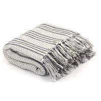 vidaXL Filt bomull ränder 125x150 cm grå och vit