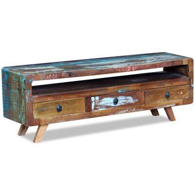 vidaXL TV-bänk med 3 lådor massivt återvunnet trä