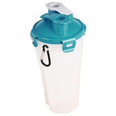 FLAMINGO 2-i-1 Resemugg med skål för vatten/mat Trinka blå och grå