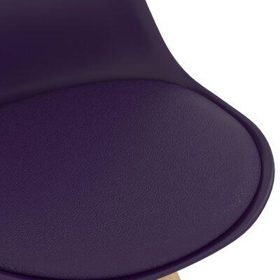 vidaXL Barstolar 4 st mörklila PP och massivt bokträ