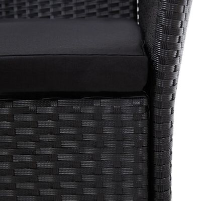 vidaXL Trädgårdsmöbelset 9 delar konstrotting svart