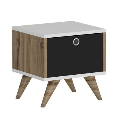Homemania Sängbord Zeyn 40x35x41cm valnötsträ svart och vit