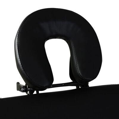 vidaXL Hopfällbar massagebänk med 3 sektioner aluminiumram svart