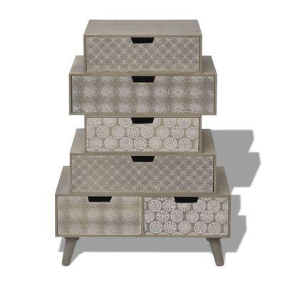 vidaXL Sidoskåp med 6 lådor grå
