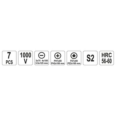 YATO Skruvmejselsats isolerade 7 delar 1000V