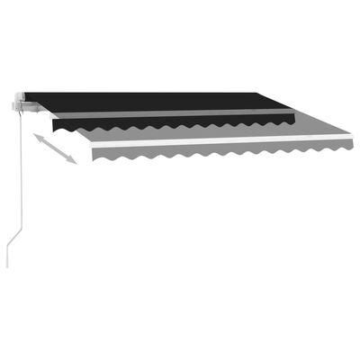 vidaXL Markis manuellt infällbar med LED 350x250 cm antracit